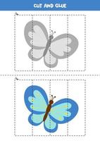 Cut and glue game for kids. Cute cartoon butterfly. vector
