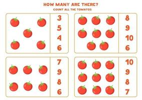 Count all red tomatoes and find right answer. vector