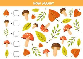 Counting game with cute autumn leaves and mushrooms. vector