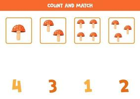 Counting fly agaric mushrooms. Math game for preschoolers. vector