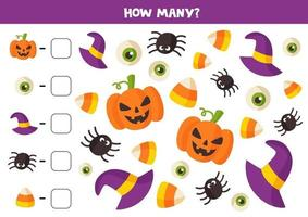 Math game with cute cartoon Halloween elements. vector