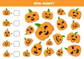 Count Halloween pumpkins and write down answers. vector