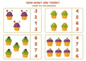 Math game with cute cartoon Halloween muffins. vector