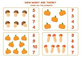 Count amount of all pumpkins and mushrooms. vector