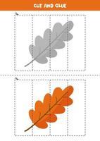 Cut and glue game for kids. Cute cartoon autumn leaf. vector