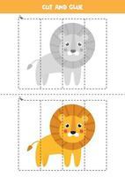 Cut and glue game for kids. Cute cartoon lion. vector