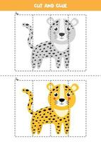 Cut and glue game with cute leopard. vector