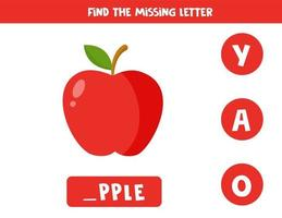 Find missing letter and write it down. Cute cartoon red apple. vector