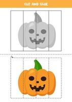 Cut and paste picture of Halloween pumpkin. vector