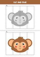Cut and glue game for kids. Cute cartoon jungle monkey. vector