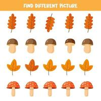 Find different mushroom and leaf in each row, vector