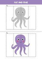 Cut and glue game for kids. Cute cartoon octopus. vector