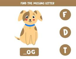 Find missing letter and write it down. Cute cartoon dog. vector