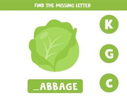 Find missing letter and write it down. Cute cartoon cabbage. vector