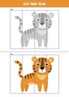 Cut and glue game for kids. Cute cartoon tiger. vector