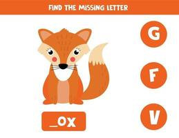 Find missing letter with cute cartoon red fox. vector