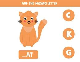 Find missing letter and write it down. Cute cartoon cat. vector