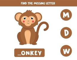 Find missing letter with cute cartoon brown monkey. vector