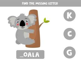 Find missing letter and write it down. Cute cartoon koala. vector