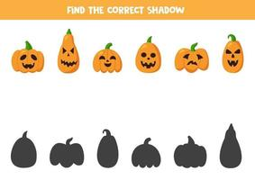 Find right shadows of Halloween pumpkins. Logical game. vector