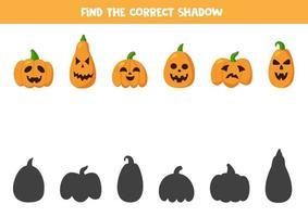 encuentra las sombras correctas de las calabazas de halloween. juego de lógica. vector