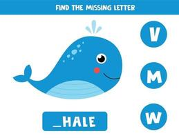 Find missing letter with cute cartoon blue whale. vector