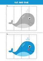 Cut and glue game with cute whale. vector