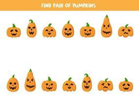 encuentra pares de lindas calabazas de halloween. juego para niños. vector