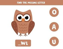 Find missing letter with cute cartoon owl. vector