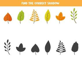 Match autumn leaves and their shadows. Logical puzzle. vector