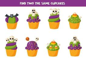 Find two the same Halloween muffin treats. vector