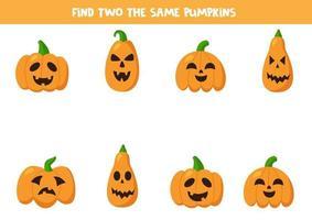 Encuentra dos calabazas de Halloween iguales. vector