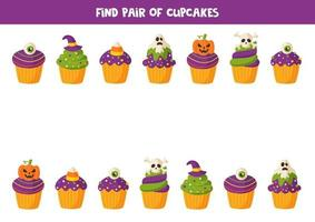 Find pairs of cute Halloween cupcakes. Game for kids. vector
