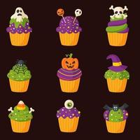 Set of spooky cartoon Halloween cupcakes on isolated background. vector