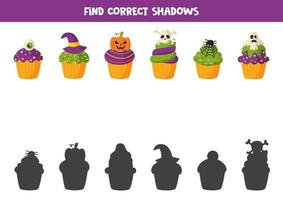 Halloween cupcakes cut and glue game for kids. vector
