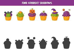 Find correct shadow of all Halloween muffins. vector