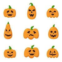 Collection of Halloween pumpkins with spooky faces. vector