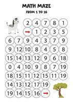 juego de matemáticas con cebra y árbol de safari. vector