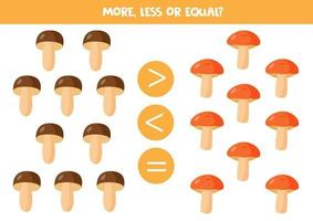 More, less or equal with cute forest mushrooms. vector
