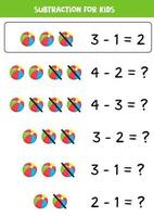 Subtraction for kids with cartoon toy ball. vector