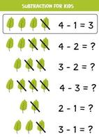 Subtraction with green leaf. Basic math for kids. vector