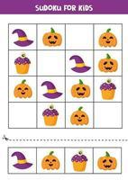 Sudoku juego de lógica con lindos elementos de halloween. vector