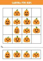 Sudoku logical game with cute Halloween pumpkins. vector