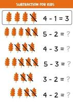Subtraction with cute autumn leaf. Math game for kids. vector