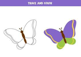 Tracing and coloring book with colorful butterfly. vector