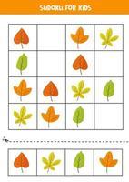 juego de sudoku con lindas hojas de otoño. rompecabezas para niños. vector