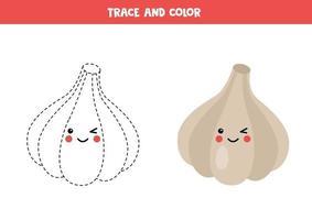 Traza y colorea el lindo ajo kawaii. juego para niños. vector