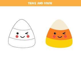 Trace and color cute kawaii Halloween sweet. vector
