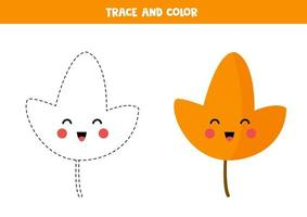 Tracing lines with kawaii leaf for kids. vector