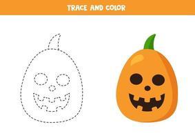 Rastrear y colorear calabazas de halloween de dibujos animados. práctica de escritura a mano. vector
